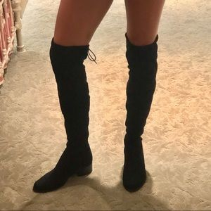 Charles David over the knee black boots